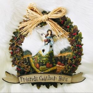 Autumn Fall Friends Gather Here Angel wreath